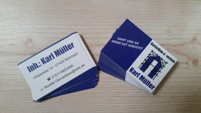 Visitenkarten Gerüstbau Karl Müller