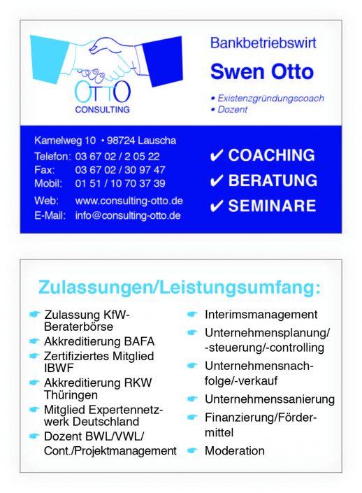 Visitenkarte vorn/hinten Otto Consulting